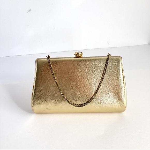 ee5f3c57f15f5a Vintage Bags | Gold Metallic Evening Bag Kiss Lock 50s | Poshmark